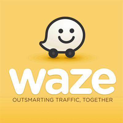 logo waze - jaune